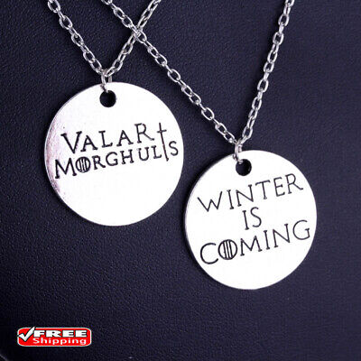 Game of Thrones Necklaces Valar Morghulis &Winter Is Coming Couple Necklace