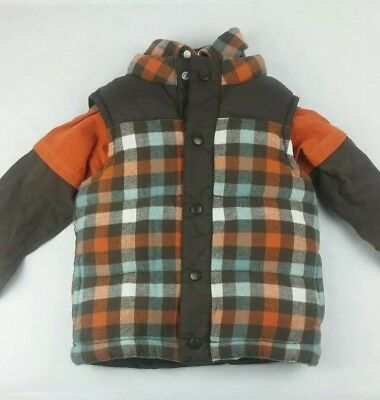Gymboree Toddler Boys Size 2T-3T Puffer Vest & Matching Shirts T-Shirt & Flannel