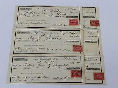 WETZEL COUNTY BANK New Martinsville WEST VIRGINIA  1899 Lot 6 Cancelled Checks