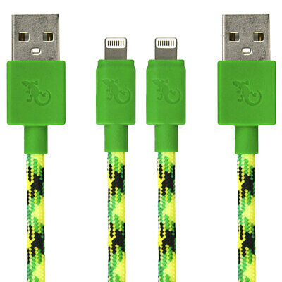 2PK Gecko MFI 1.2m Lightning USB Charging Cable Data Sync for iPhone X/XS Green