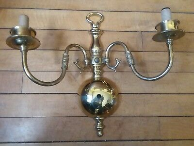 Antique Vintage Brass Double Wall Scounce Lamp Light Fixture M.C.C.O