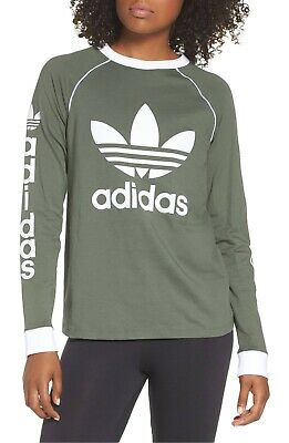 7aca005c NWT Women's Adidas Originals Trefoil OG Long-Sleeve Tee Top Shirt Sage  Green XS