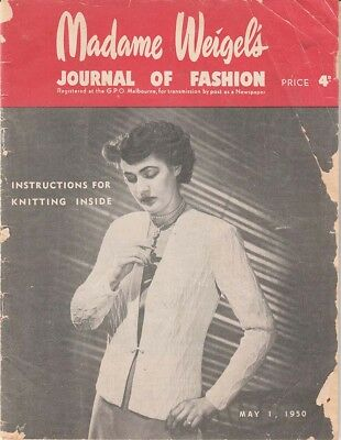 1940s VINTAGE MADAME WEIGEL'S JOURNAL OF FASHION AUSTRALIAN MAGAZINE May 1950