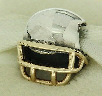 4f7778681 Authentic Pandora 790570 Football Helmet 14K Gold & Sterling Silver Bead  Charm
