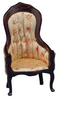 Dollhouse Miniatures 1:12 Scale Victorian Gent's Chair, Floral Print #CLA10965