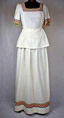 true Vintage 1960s cheesecloth hippy boho 2 piece maxi dress size small 2/4