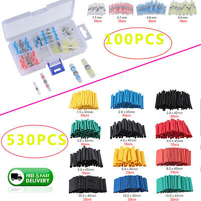 100X Electical Solder Seal Wire Connector +530X Heat Shrink Tubing Tube Sleeving