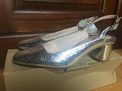 0167c10c34d ZARA SHINY SILVER Pumps Front Top-Stitching Stiletto Heel Pointed ...