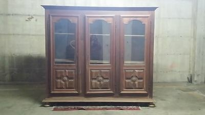 Librery Bibilothek Bookcase 3 Panels with Glasses End 800
