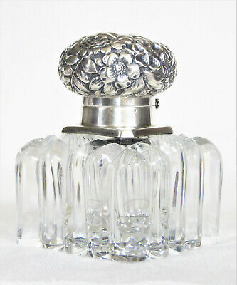 Antique Crystal Inkwell w/ Repousse Sterling Silver Lid