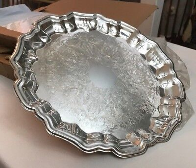 "VINTAGE Leonard Silver Plate Footed Round Etched 13 1/2"" Diameter Serving Tray"