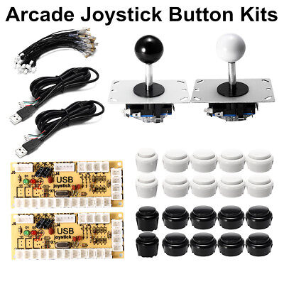 Zero Delay Arcade Jeux 2 Joystick DIY + 20 Push Bouton +2 USB Encodeur Parts Kit