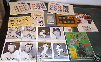 Los Angeles LA Dodgers Vintage LOT Pins World Series Program Photo Ticket Alston
