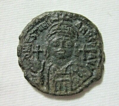Byzantine. Ae 1/2 Follis, Justinian I, 527-565 Ad. Nice Patina And Details
