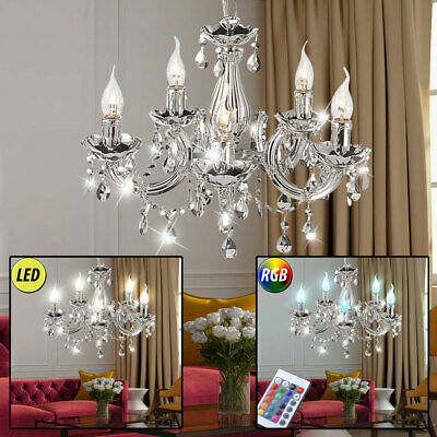 Luxury RGB Led Pendulum Ceiling Light Room Crystal Chandelier Remote Control