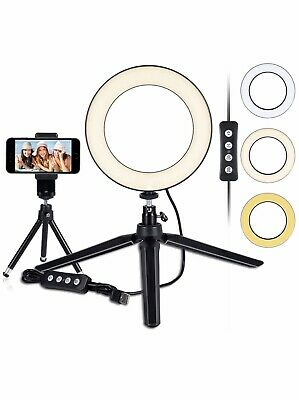 "LED Ring Light 6"" Dimmable Desktop LED Light w/Tripod Stand & Cell Phone Holder"