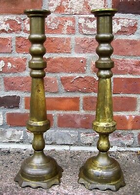 Antique Pair Solid Brass Candlesticks, 18c.