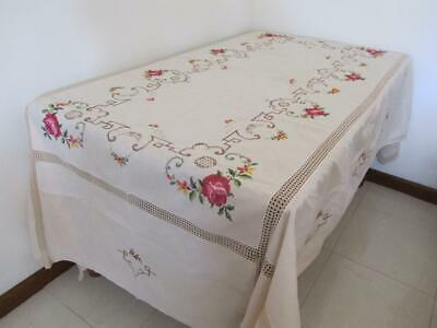 Vintage Large Banquet TABLECLOTH Divine Roses Cross Stitch Crisp Linen Crochet