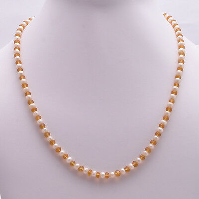 "925 Solid Sterling Silver Citrine Cut,Pearl18.6"" Plus 1.5"" Ext.Necklace(SPN-116)"