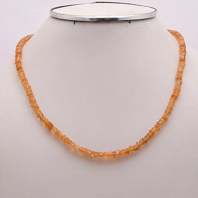 "925 Solid Sterling Silver 5 mm Citrine Cut 16.2"" Plus 1.5"" Ext.Necklace(SPN-7)"