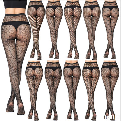 Women's Black Lace Fishnet Hollow Patterned Pantyhose Tights Stockings Plus Size