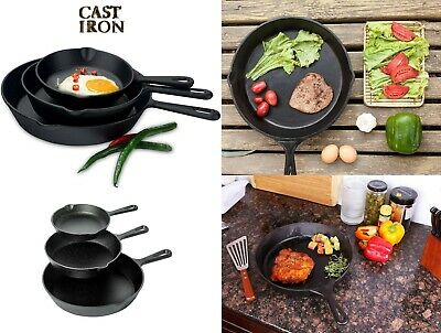 Pre-seasoned Cast Iron 3 Piece Skillet Set Stove Oven Fry Pans Cooking Cookware
