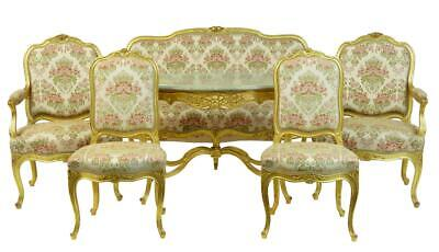 Stunning Early 20Th Century 6 Piece Gilt French Salon Suite