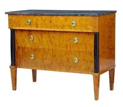 20TH CENTURY 1960's GOLDEN BIRCH MARBLE TOP CHEST OF DRAWERS COMMODE