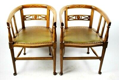 A Pair of Antique Boxwood Inlaid Mahogany Tub Chairs - FREE Shipping [PL5049]
