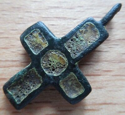 Viking period bronze double-sided cross in enamels VF+++