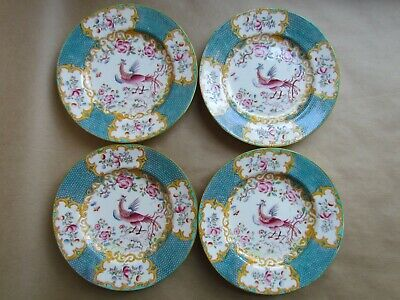 """MINTON TURQUOISE COCKATRICE 4910 FOUR 6⅝"""" SIDE PLATES DATE CYPHER 1863 (Ref4499)"""