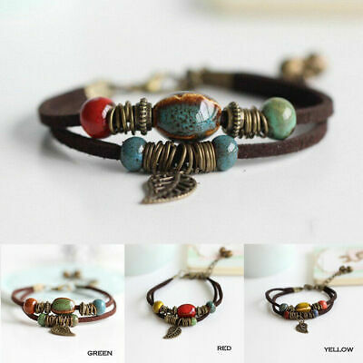 Boho Vintage Double Layer Rope Leather Leaf Beads Bracelet Jewelry For Women Men