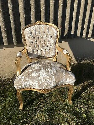 French Louis style Shabby Chic Champagne Crushed Velvet Chair / gold frame