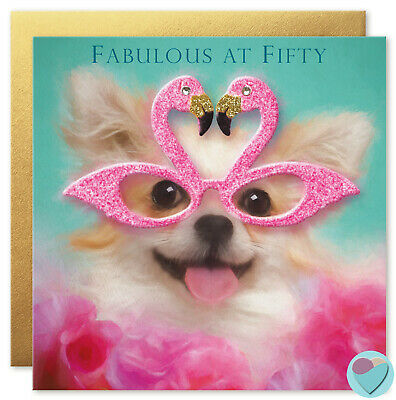 50th Birthday Card for Fabulous women and men! Flamingo Chihuahua Dog lovers