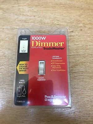 Pass & Seymour Legrand Industrial Lighted Toggle Dimmer Lt.Almond 1000w T1000LAV