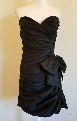 d1b208a0ade9a BEYOND BY JOVANI WOMENS SZ 10 BLACK RUCHED STRAPLESS COCKTAIL DRESS BOW w  WRAP
