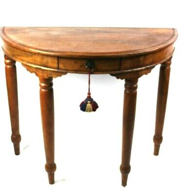 Vintage Fruit Wood Demi Lune Console Table - FREE Shipping [P5050]