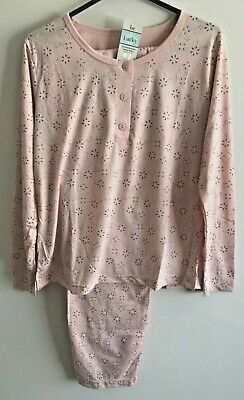 Ladies 'Lucky Brand' Poly/Cotton Long Sleeved Pink Floral Pyjamas  (Size16/18)