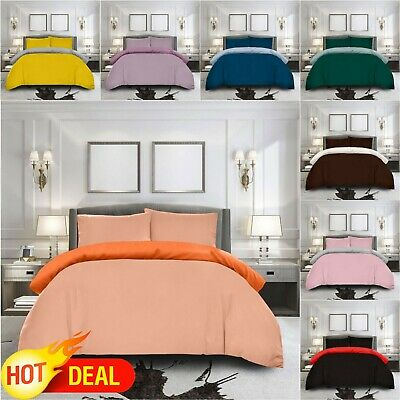 DOUBLE Plain Duvet Cover Reversible Quilt Bedding Pillow Case Grey Black Choco