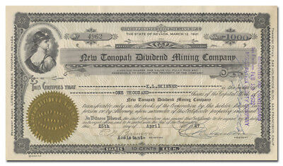New Tonopah Dividend Mining Company Stock Certificate