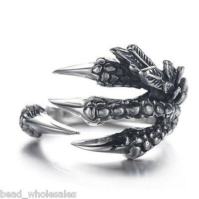 Men Women Silver Stainless Steel Dragon Claw Ring Finger Band Adjustable Jewelry