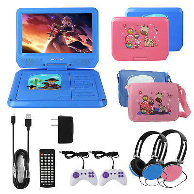 🔥9'' Kids Portable Personal DVD Player TFT LED Screen w/Headphones/Carrying Bag