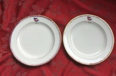 Pair Of Very Rare New York Yacht Club Dinner Plates Ovington Bros Cauldron China