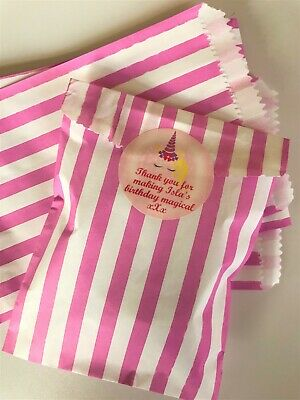 Personalised Unicorn Party Bags Candy Stripe Sweet Bags