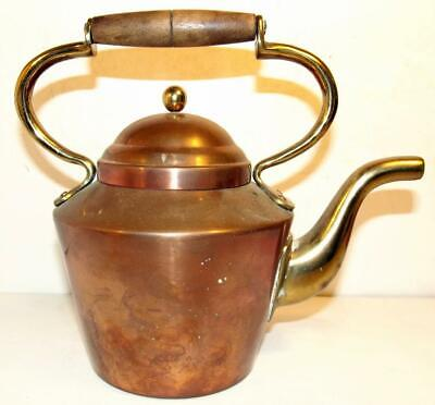 Vintage Copper And Brass Tagus 'R.58' Tea Kettle W/Wood Handle Made In Portugal