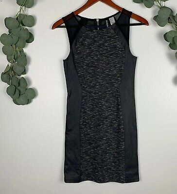 Womens DIVIDED H&M Black Faux Leather Bodycon Dress Size 6