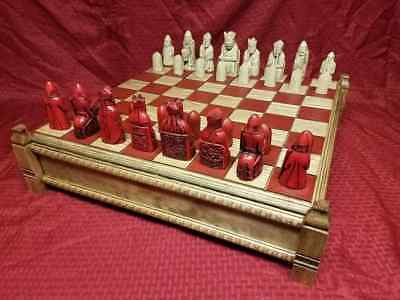 Isle of Lewis Chessmen, Board & Case (FULL SIZE REPRODUCTIONS)
