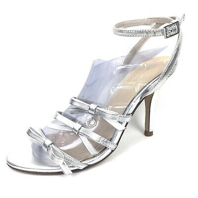 54d7eed77bf Women Kate Spade Size 6M Strappy Bow Metallic Ankle Straps Heels Sandals  Silver