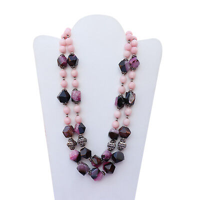 Lovely 925 Sterling Silver Handmade Pink Agate Beads Necklace Jewelry