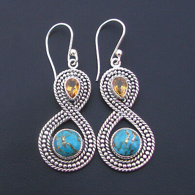 Natural Citrine - Yellow Citrine - Turquoise Earring 925 sterling silver Jewelry